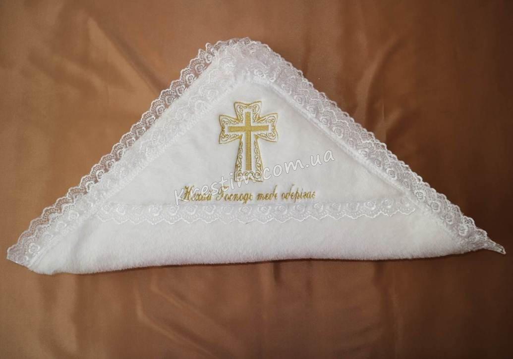 Крыжма на крестины с золотой вышивкой - Фото 3