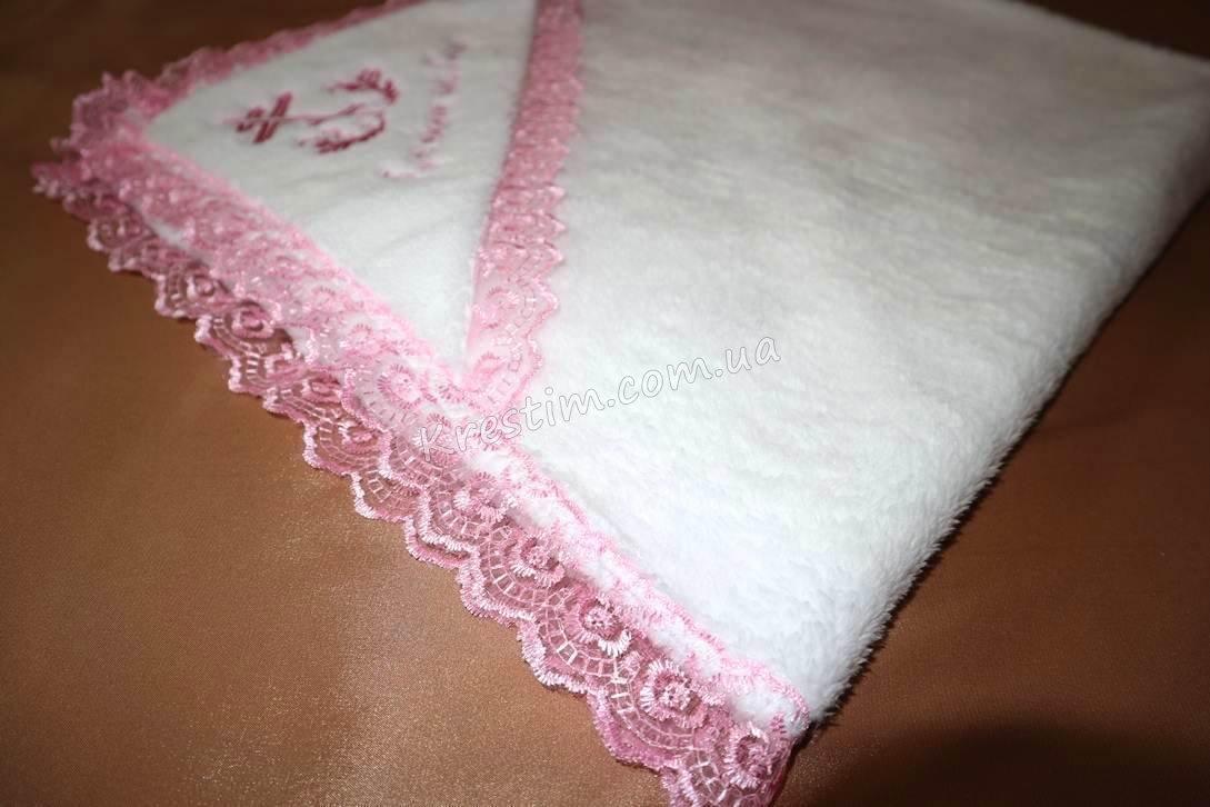 Крыжма на крестины с розовой вышивкой - Фото 4