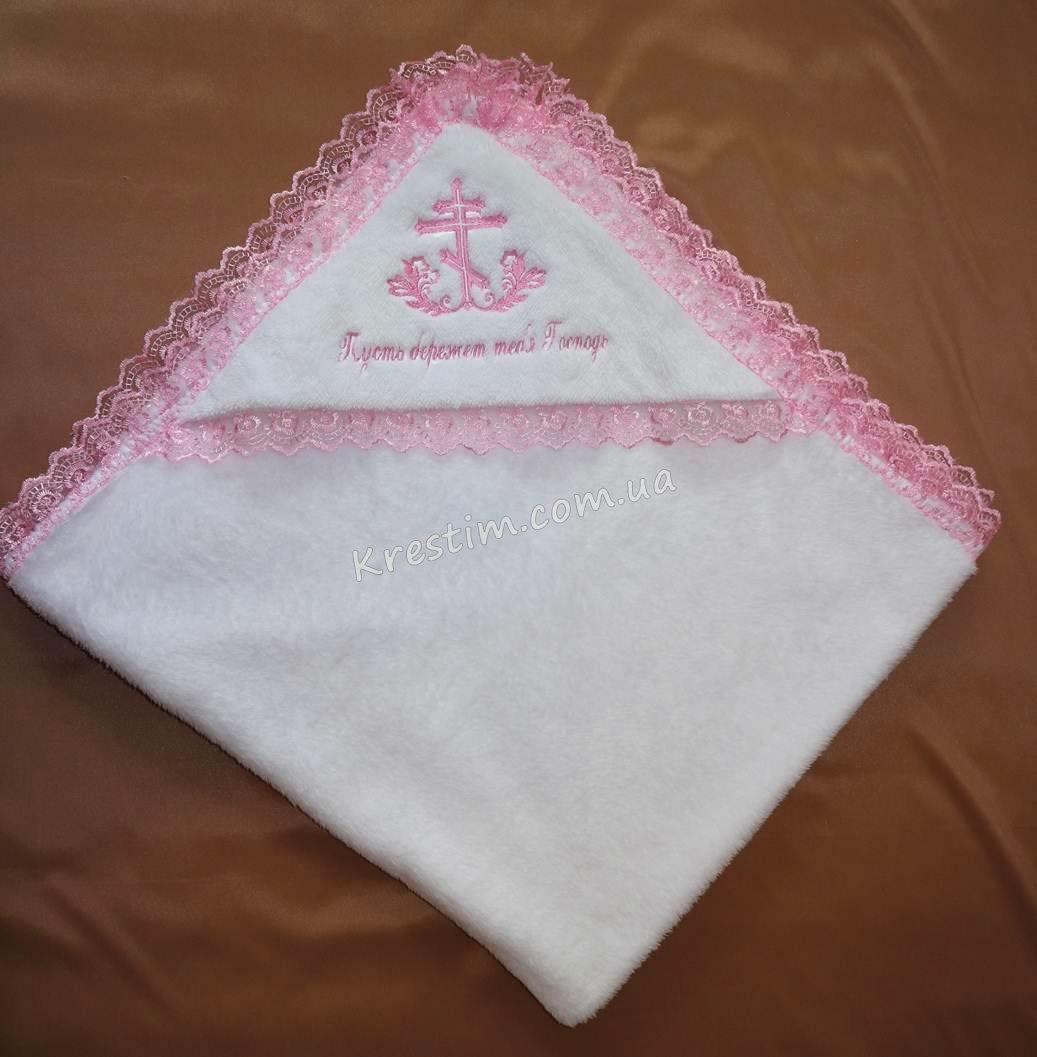 Крыжма на крестины с розовой вышивкой - Фото 2