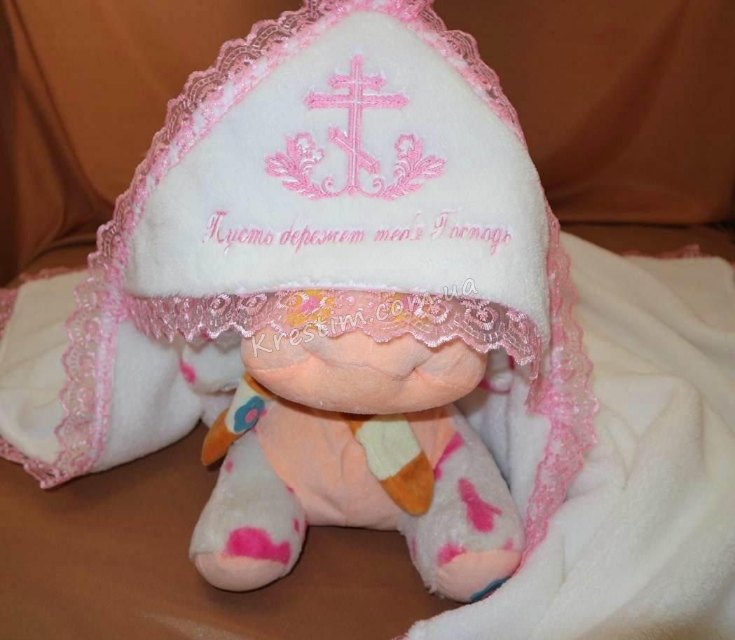 Крыжма на крестины с розовой вышивкой - Фото 1