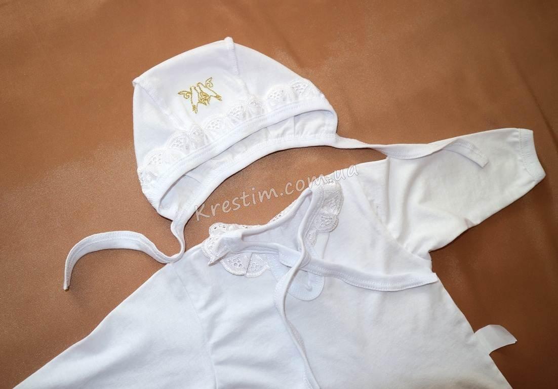 Крестильная рубашка с чепчиком - Фото 2