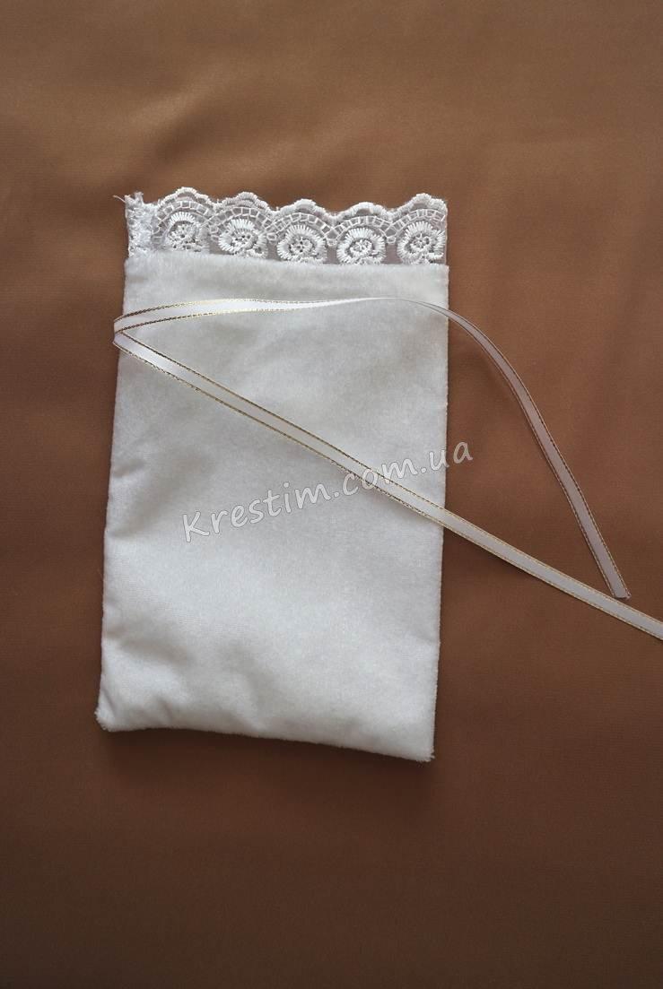 Мешочек для волос на крестины с вышитым крестиком - Фото 3