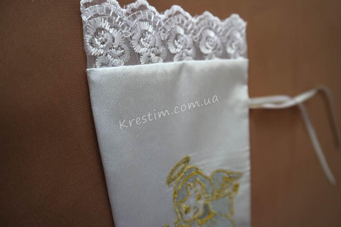 Крестильный мешочек для волос с вышивкой - Фото 3