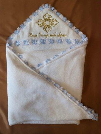 Универсальная крыжма с вышивкой и прошвой белого с голубым