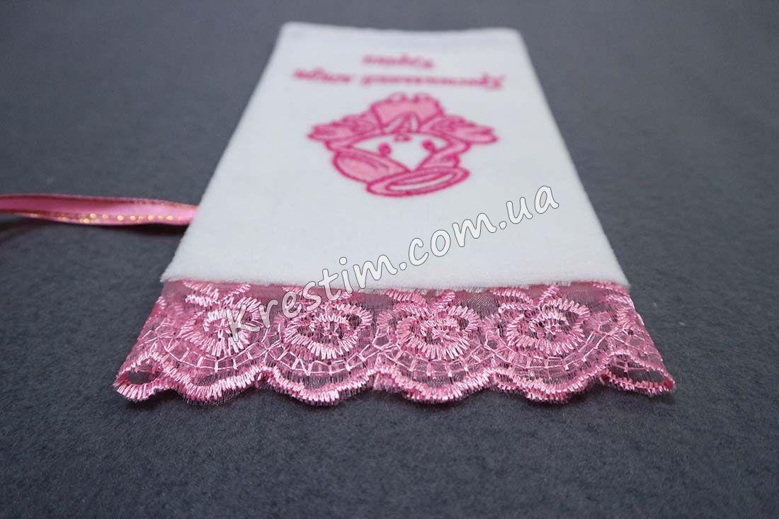 Крестильный мешочек в розовых цветах - Фото 1