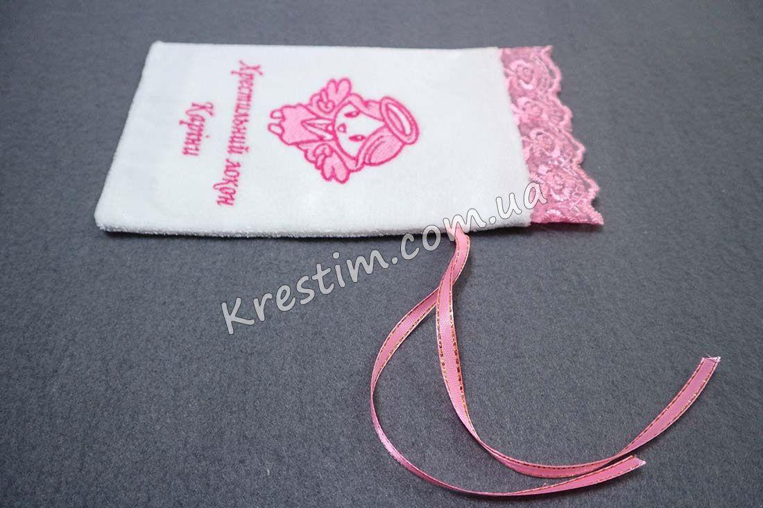 Крестильный мешочек в розовых цветах - Фото 2