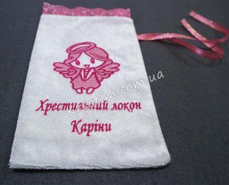 Крестильный мешочек в розовых цветах
