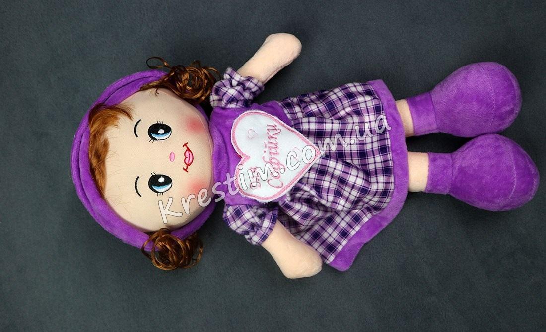 Кукла в платье в клеточку с именной вышивкой - Фото 3