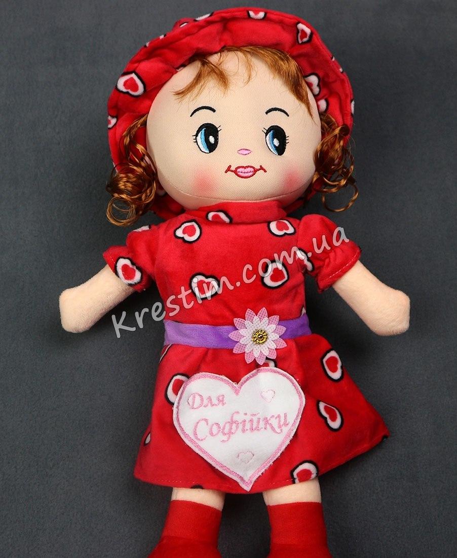 Кукла в платье в сердечках с именной вышивкой - Фото 3