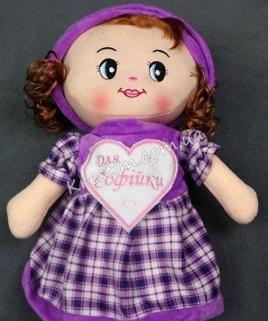 Кукла в платье в клеточку с именной вышивкой