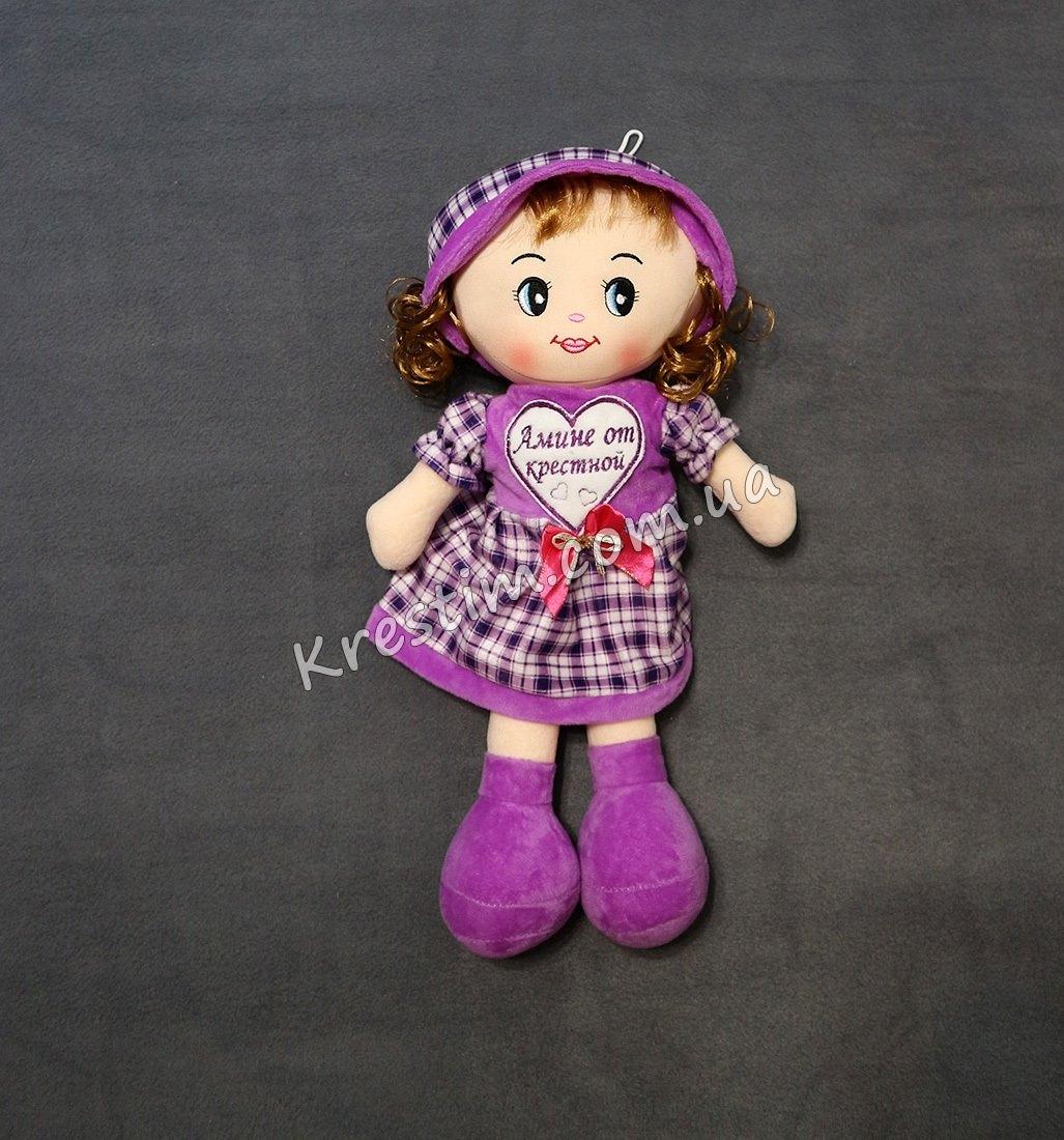 Кукла в платье в клеточку с именной вышивкой - Фото 1